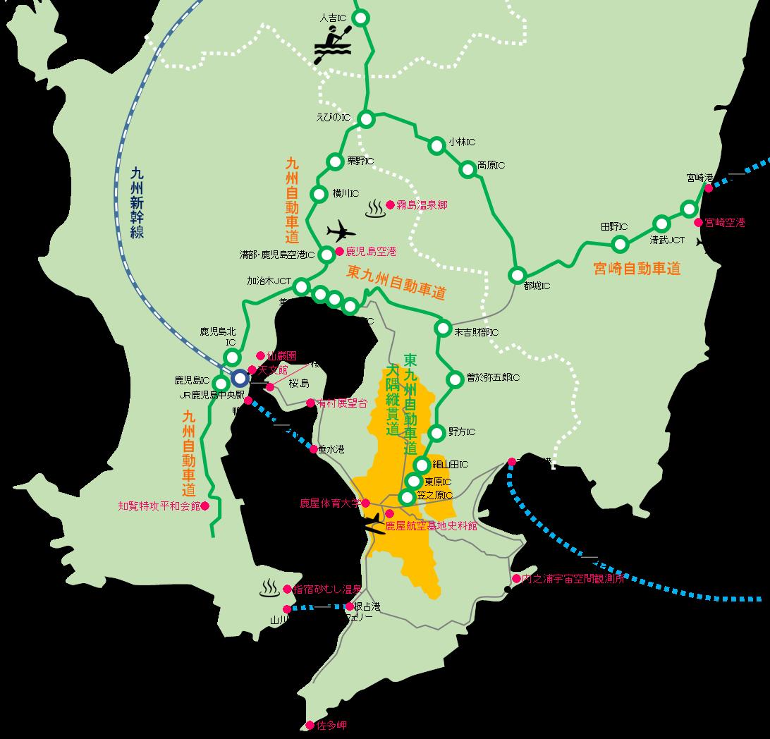 鹿児島県拡大マップ